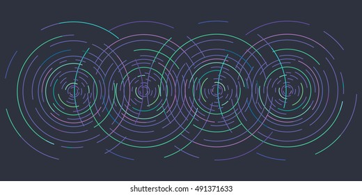vector illustration of horizontal banner of blue concentric circles on dark background as waves on water or other physical effects for modern designs