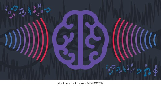 vector illustration of horizontal banner with brain and sound waves for binaural beat concepts with dark blue colors