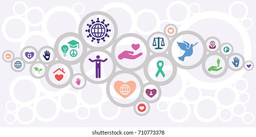 vector illustration of horizontal banner for charity and volunteering concept in connected circles modern design