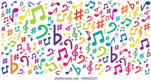 vector illustration of horizontal banner with colorful musical notes and symbols for audio media concepts and designs on white background