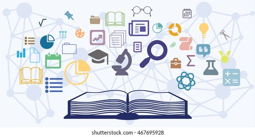 vector illustration of horizontal banner with education process visualization with open book and different science chapteres covered