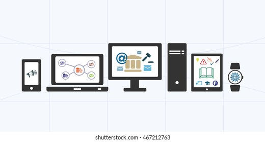 vector illustration of horizontal banner for electronic public services and information portal with different options and devices
