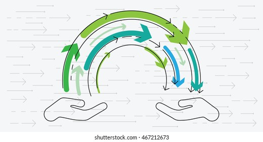 vector illustration of horizontal banner for knowledge exchange concept with two hands and flow of arrows in between