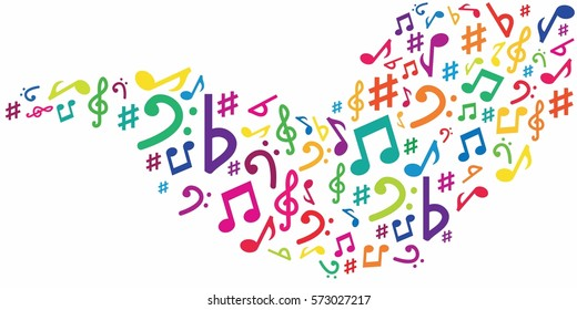 vector illustration of horizontal banner with musical and digital symbols in wave shape for audio media concepts and designs