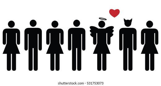 vector illustration of horizontal banner with people in row with angel and devil couple standing out of line as bad and good ideas concept