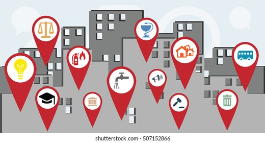 vector illustration for horizontal banner of public services map markers in the city as guidance concept