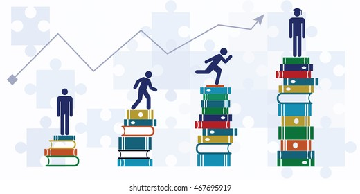 vector illustration of horizontal banner with student growth chart climbing up to higher level with help of books / graduating from university concept