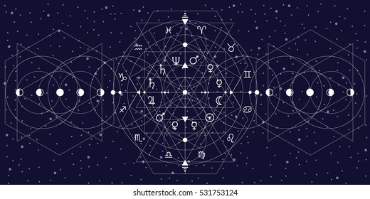 vector illustration of horizontal banner with white abstract sacred geometry background with triangles geometrical shapes on dark background with moon phases