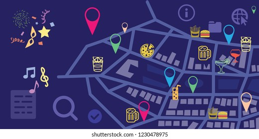 vector illustration for horizontal dark city buildings and cafes bubs eateries icons for urban information visualization and night life navigator