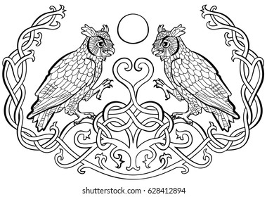 Vector illustration of horned owls in love Celtic ornament black and white ( symbol of wisdom, mystery and intelligence)