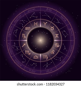 Vector illustration with Horoscope circle, Zodiac symbols and astrology constellations on the starry night sky background with geometry pattern. Gold and purple elements. Vector.