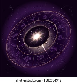Vector illustration with Horoscope circle, Zodiac symbols and pictograms astrology planets on the starry night sky background. Image in perspective. Gold and purple elements. Vector.