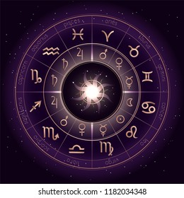 Vector illustration with Horoscope circle, Zodiac symbols and pictograms astrology planets on the starry night sky background with geometry pattern. Gold and purple elements. Vector.