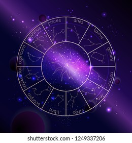 Vector illustration of Horoscope circle with Zodiac constellations against the space background with planets, stars and geometry pattern. 3D symbols in gold colors.