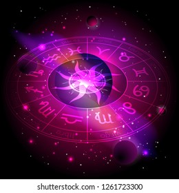 Vector illustration of Horoscope circle with Zodiac signs against the space background with planets, stars and geometry pattern Sun. Sacred symbols in red and purple colors. In perspective.