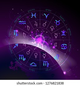 Vector illustration of Horoscope circle, Zodiac signs and pictograms astrology planets against the space background with sunrise and geometry pattern. In blue and purple colors.