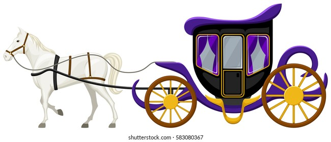 Vector illustration of a horse and carriage.