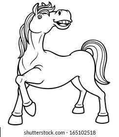 Vector illustration of a horse - Coloring book