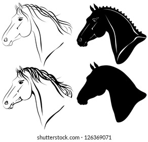 Vector illustration of horse head clip-art set.