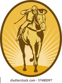 vector illustration of a Horse and jockey racing front view done in woodcut style.