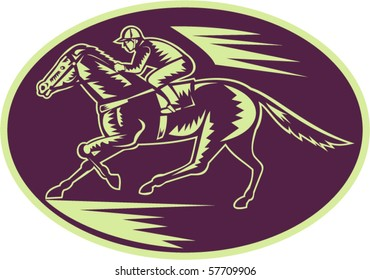 vector illustration of a Horse and jockey racing side view done in woodcut style.