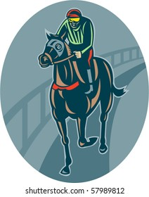 vector illustration of a Horse and jockey racing  race track front view