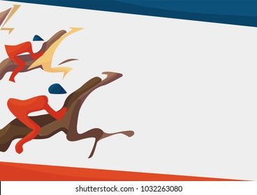 Vector illustration for Horse Racing events. Abstract vector poster template with copy space or text place: Galloping horses with jockeys. Great for race or derby promotions and gambling or betting.