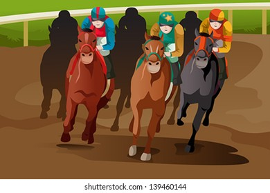 A vector illustration of horse racing in a track