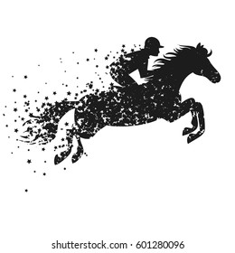 Vector illustration with horse and rider. Poster with Silhouette of star particles. For logo, banner or print for t-shirt and bags.