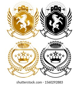 Vector illustration of horse shield crown symbol