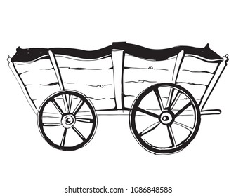 Vector illustration of an horse wagon. old vehicle