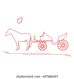Vector illustration with horse-drawn carriage and oak leaf. Travel and leisure. Design for banner, poster or print.