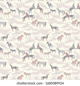 Vector illustration of horses in different poses, stylized mountains, hills, winds and rivers. Seamless pattern in shades of cream, tan, pink and brown. Designed for scrapbooking, wallpaper, gift wrap