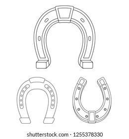 Vector illustration of horseshoe and western sign. Set of horseshoe and blacksmith vector icon for stock.