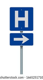 Vector illustration of the Hospital blue road sign with arrow on metallic post