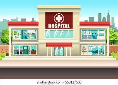 A vector illustration of Hospital Building