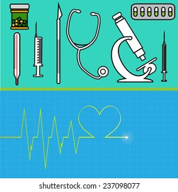 Vector illustration with hospital instruments on green background.