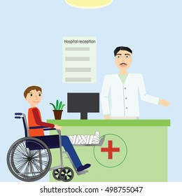 Vector illustration hospital reception with doctor and patient in wheelchair with broken leg