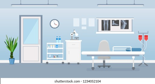 Vector illustration of hospital room interior with medical tools, bed and table. Room in hospital in flat cartoon style.