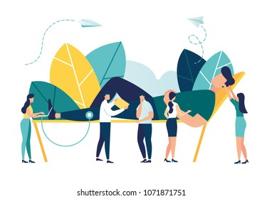 Vector illustration, hospitalization of a patient, a sick person lies in a medical cot, doctors treat a patient, a routine examination, medical examination