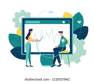 Vector illustration, hospitalization of the patient, a sick person sitting on a chair and measuring his rhythm, doctors treat the patient, routine examination, medical examination
