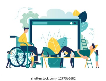Vector illustration, hospitalization of the patient, a sick person sitting on a chair and measuring his rhythm, doctors treat the patient, routine examination, medical examination - Vector