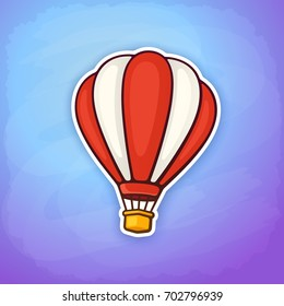 Vector illustration. Hot air balloon in red and white stripes on sky background. Summer journey by air transport. Sticker in cartoon style with contour. Isolated on blue background
