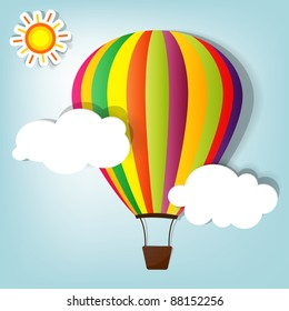 vector illustration with hot air balloon in the sky