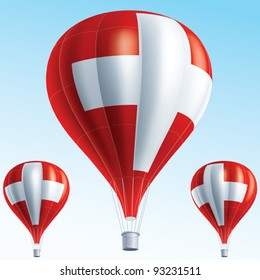 Vector illustration of hot air balloons painted as Switzerland flag