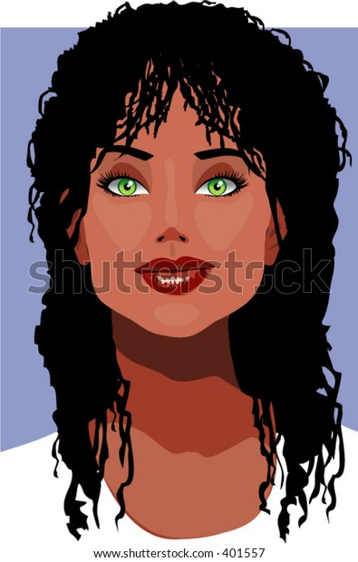 Vector Illustration of a hot dark African american woman