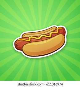 Vector illustration. Hot dog with mustard. Unhealthy food. Sticker in cartoon style with contour. Decoration for greeting cards, patches, prints for clothes, badges, posters, emblems, menus