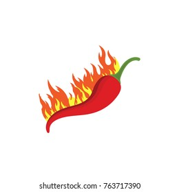 Vector illustration of a hot jalapeno or chili peppers in fire. Chili peppers in flame.