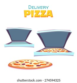 Vector illustration of hot pizza in box with text.