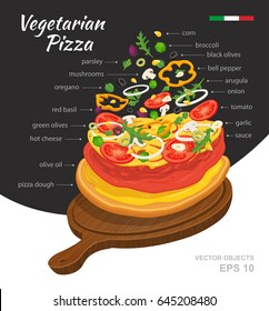 Vector  illustration of hot Vegetarian Pizza on wooden board. Falling ingredients. Traditional Italian recipe. Infographic creative design. Fastfood isolated on black and white background